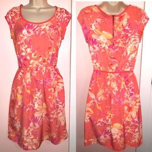 Coral Floral Summer Dress with Pockets
